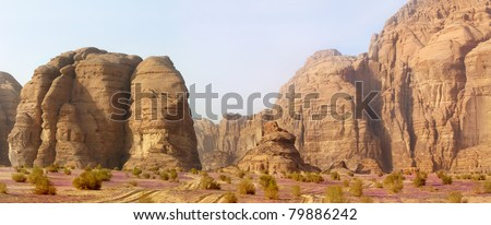 panoramic view of desert and mountains of Wadi Rum, Jordan