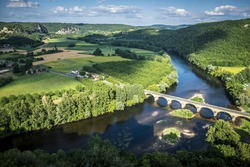 Panoramic view of Dordogne Valley Perigord Noir France Europe