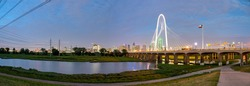 Panoramic View of Downtown Dallas From the Margaret Hunt Hill Bridge at night