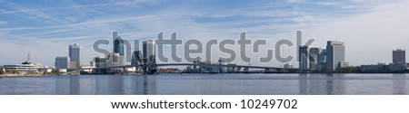panoramic view of downtown Jacksonville, Florida along the St. John's River
