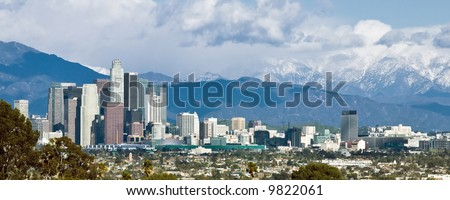 Panoramic view of downtown Los Angeles viewed from the southwest
