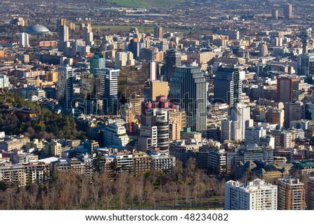 Panoramic view of downtown Santiago, Chile, South America