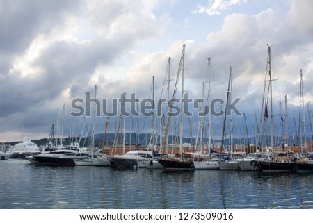 Panoramic view of dramatic cloudy skyscape in Mallorca yacht sailing marina Stok fotoğraf ©
