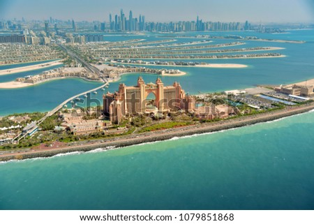 Panoramic view of Dubai from Palm Island - Shutterstock ID 1079851868