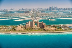Panoramic view of Dubai from Palm Island, UAE