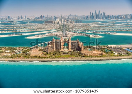 Panoramic view of Dubai from Palm Island, UAE - Shutterstock ID 1079851439