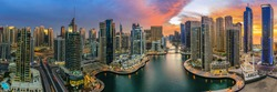 Panoramic view of Dubai Marina in UAE at sunset