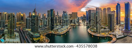 Panoramic view of Dubai Marina in UAE at sunset