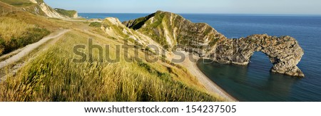 Panoramic View of Durdle Door in United Kingdom.