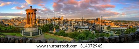 Panoramic view of Edinburgh castle from Calton Hill, Edinburgh, Scotland. #314072945