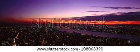 Panoramic view of Empire State Building, World Trade Center, Hudson River, Manhattan, New York and New Jersey