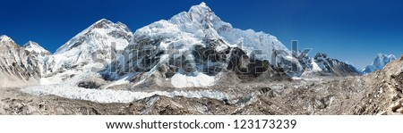 panoramic view of Everest, Nuptse, glacier and ice-fall khumbu from everest b.c.