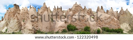 Panoramic view of fairy chimney in Cappadocia mountains