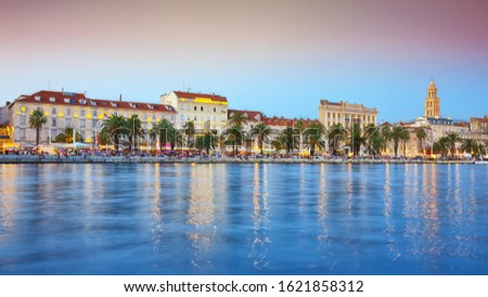 Panoramic view of famous Palace of the Emperor Diocletian and shore of Adriatic Sea in Split.  Location:  Split, Dalmatia, Croatia, Europe