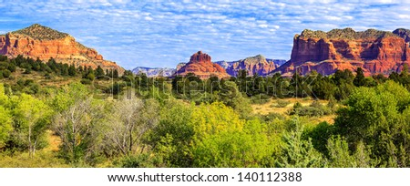 Panoramic view of famous red rock of Sedona, USA