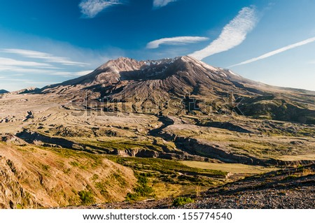 Panoramic view of famous volcano Mount St. Helens located in Washington State.