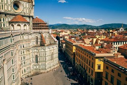 Panoramic view of Firenze medieval old town and Duomo Santa Maria del Fiore Cathedral in Florence, Italy
