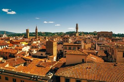 Panoramic view of Firenze medieval old town from Giotto's Bell Tower in Florence, Italy