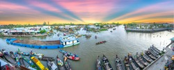 Panoramic view of floating market in the morning in the Mekong Delta Soc Trang, Vietnam