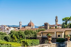 Panoramic view of Florence city center, with the Cathedral, Brunelleschi dome and Palazzo Vecchio, seen from Boboli Gardens, beside Palazzo Pitti, Florence city center, Tuscany region, Italy