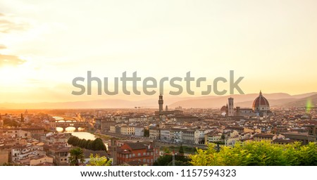 Panoramic view of Florence Duomo and Palazzo Vecchio at sunset, Tuscany, Italy