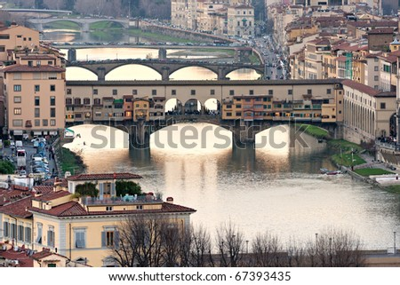 Panoramic view of Florence from Ponte Vecchio.
