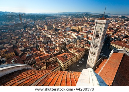 Panoramic view of Florence from  the Cupola of Duomo. Tuscany, Italy.