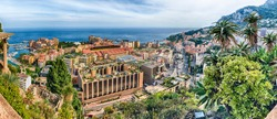 Panoramic view of Fontvieille district and Louis II stadium in the Principality of Monaco, Cote d'Azur, French Riviera
