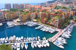 Panoramic view of Fontvieille - new district of Monaco. Boats an