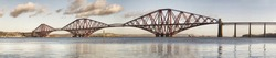 Panoramic view of Forth Rail Bridge, Edinburgh, Scotland. The picture is built from multiple vertical pictures