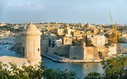 Panoramic view of fortress Grand Harbour in Valletta, Malta