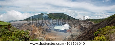 Panoramic view of  fumarole smoke over the Poas Volcano in Costa Rica in 2012. Detail of the acid water crater with turquoise colors.