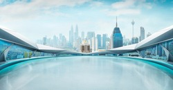 Panoramic view of futuristic geometric shapes design empty floor with city skyline . Morning scene .