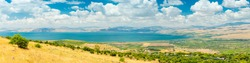 Panoramic View Of Golan Heights and the Galilee and  The Sea of Galilee,  also called Lake Tiberias, Kinneret or Kinnereth.