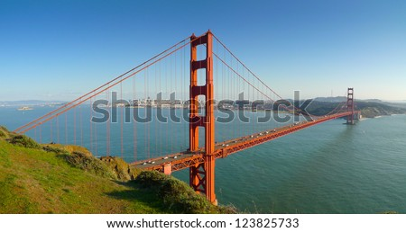 Panoramic view of Golden Gate bridge and San Francisco from Battery Spencer