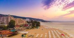 Panoramic view of Golden Sands beach in Bulgaria. 2019