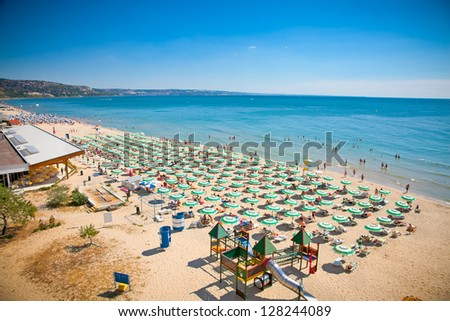 Panoramic view of Golden Sands beach (Zlatni Piasci) in Bulgaria. - stock photo