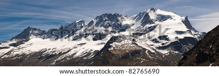Panoramic view of Gran Paradiso massif. The peak is 4.061 mt. high. Gran Paradiso National Park, North West of Piedmont, Italy
