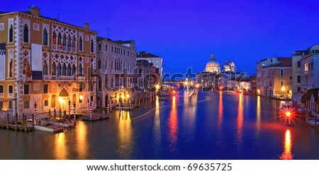panoramic view of Grand canal Venice Italy.
