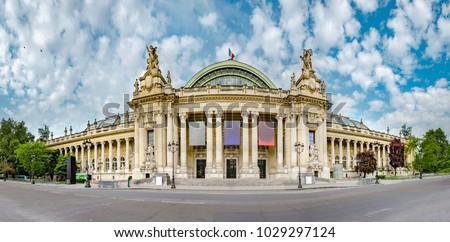 Panoramic view of Grand Palais (Great Palace) in Paris, France. Grand palais has more than 1.5 mln visitors per year, no people