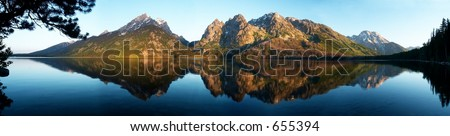 Panoramic VIEW OF GRAND TETONS AT LAKE JENNY GRAND TETON NATIONAL PARK, WYOMING