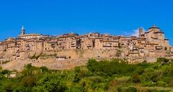 Panoramic view of Grotte di Castro skyline, mediaeval town near lake Bolsena, Viterbo province, central Italy