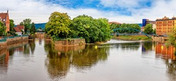 Panoramic  view of Hameln and the Weser river in Germany.