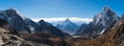 Panoramic view of Himalaya mountains from Chola pass, Everest base camp trekking in Nepal, Asia