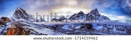 Panoramic view of himalayas mountains, Mount Everest and Khumbu Glacier from Kala Patthar - way to Everest base camp, Khumbu valley, Sagarmatha national park, Nepalese himalayas