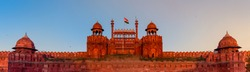 Panoramic view of historic Red Fort is a UNESCO world Heritage Site at Delhi. On Independence day, the Prime Minister hoists Indian flag at main gate of fort & delivers nationally broadcast speech.