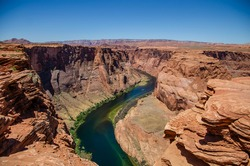 Panoramic view of Horseshoe Bend in Arizona