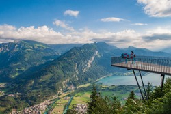 Panoramic view of Interlaken from viewpoint of Harder Kulm