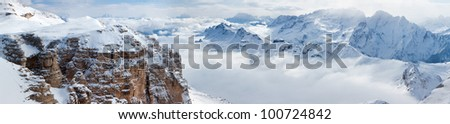 Panoramic view of Italian Alps with the Sella group in front and the Marmolada group in background