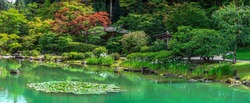 Panoramic view of Japanese garden in Seattle Washington